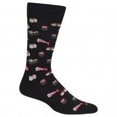 Hot Sox Men's Food and Booze Novelty Casual Crew Socks, Sushi (black), Shoe Size: 6-12