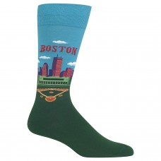 Hot Sox Men's Travel Series Novelty Crew Socks, Boston (Turquoise), Shoe Size: 6-12