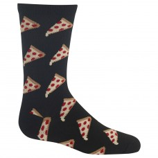 Hot Sox Boys' Big Food Novelty Casual Crew Socks, Pizza (black), Medium/Large Youth