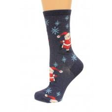 Hot Socks Skating Santas Women's Socks 1 Pair, Denim Heath, Women's Shoe Size 9-11