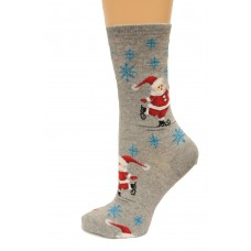 Hot Socks Skating Santas Women's Socks 1 Pair, Sweatshirt Grey, Women's Shoe Size 9-11