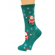 Hot Socks Skating Santas Women's Socks 1 Pair, Forest Green, Women's Shoe Size 9-11