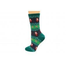 Hot Socks Santa Fairisle Women's Socks 1 Pair, Forest Green, Women's Shoe Size 9-11