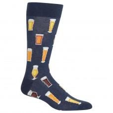 Hot Sox Beer Crew Socks 1 Pair, Denim Heather, Men's 6-12.5 Shoe