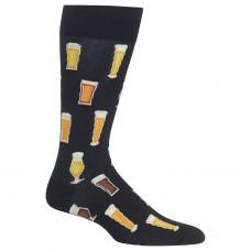 Hot Sox Beer Crew Socks 1 Pair, Black, Men's 6-12.5 Shoe