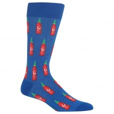 Hot Sox Men's Food and Booze Novelty Casual Crew Socks, Hot sauce (Blue), Shoe Size: 6-12