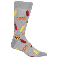Hot Sox BBQ Food Crew Socks, 1 Pair, Sweatshirt Heather Grey, Men's 6-12.5