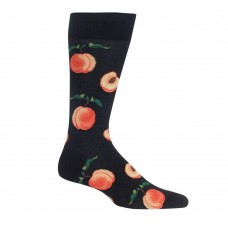 Hot Sox Men's Peaches Crew Socks 1 Pair, Black, 6.5-12 Shoe