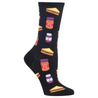 HotSox Womens Peanut Butter and Jelly Socks, Black, 1 Pair, Womens Shoe 4-10