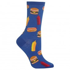 Hot Sox BBQ Food Crew Socks, 1 Pair, Blue, Women's 4-10 Shoe