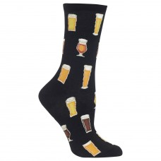 Hot Socks Beer Crew Socks, 1 Pair, Black, Women's 4-10 Shoe