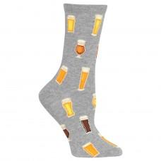 Hot Sox Beer Crew Socks, 1 Pair, Sweatshirt Heather Grey, Women's 4-10 Shoe