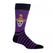 Hot Sox Men's Sombrero Sugar Skull Crew Socks 1 Pair, Purple, 6-12.5 Shoe