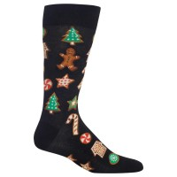 HotSox Mens Christmas Cookies Socks, Black, 1 Pair, Mens Shoe 6-12.5