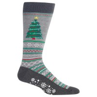 HotSox Mens Christmas Tree Non Skid Socks, Sweatshirt Grey Heather, 1 Pair, Mens Shoe 6-12.5