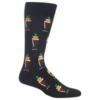 HotSox Mens Leprechauns Socks, Black, 1 Pair, Mens Shoe 6-12.5