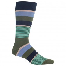 HotSox Mens Multi Mixed Stripe Socks, Navy, 1 Pair, Mens Shoe 6-12.5