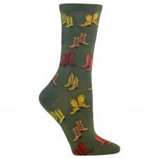 Hot Sox Boots Crew Socks, 1 Pair, Olive, Women's 4-10 Shoe