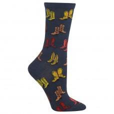 Hot Sox Boots Crew Socks, 1 Pair, Denim Heather, Women's 4-10 Shoe