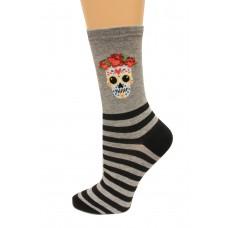Hot Socks Sugar Skull Women's Socks 1 Pair, Sweatshirt Grey, Women's Shoe Size 9-11