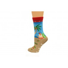 Hot Socks Surfing Santa Non Skid Women's Socks 1 Pair, Red, Women's Shoe Size 9-11