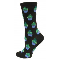 Hotsox Women's Crew Irish Cupcakes Socks 1 Pair, Black, Women's Shoe 4-10