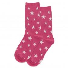 HotSox Glow In The Dark Stars Kids Socks, Magenta, 1 Pair, Medium/Large