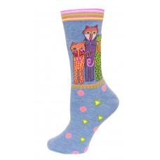 K. Bell Polka Dot Leopard Socks, Denim, Sock Size 9-11/Shoe Size 4-10, 1 Pair