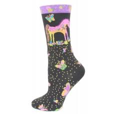 K. Bell Mythical Mares Socks, Black, Sock Size 9-11/Shoe Size 4-10, 1 Pair
