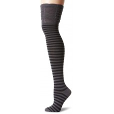 K. Bell Over the Knee with Rouched Top Socks, Charcoal/Black, Sock Size 9-11/Shoe Size 4-10, 1 Pair