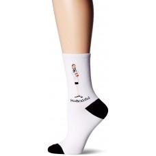 K. Bell Medical Girl Crew Socks, White, Sock Size 9-11/Shoe Size 4-10, 1 Pair
