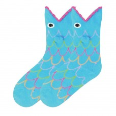 K. Bell Kid's Wide Mouth Fish, Turquoise, Sock Size 7.5-9/Shoe Size 11-4, 1 Pair