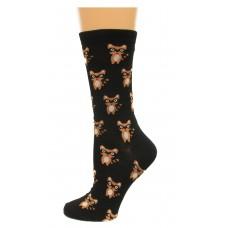 K. Bell Ninja Raccoons Crew Socks, Black, Sock Size 9-11/Shoe Size 4-10, 1 Pair