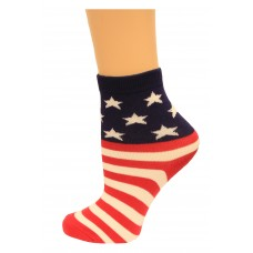 K. Bell Kid's Stars and Stripes, Red/Navy, Sock Size 7.5-9/Shoe Size 11-4, 1 Pair