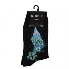 K. Bell Peacock Crew Socks, Black, Sock Size 9-11/Shoe Size 4-10, 1 Pair