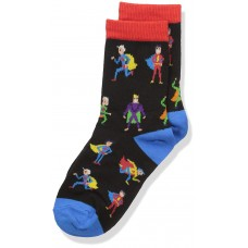 K. Bell Boy's Super Heroes Crew, Black, Sock Size 7.5-9/Shoe Size 11-4, 1 Pair