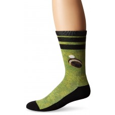 K. Bell Men's In the Hole 360 Print Crew Socks, Green, Sock Size 10-13/Shoe Size 6.5-12, 1 Pair