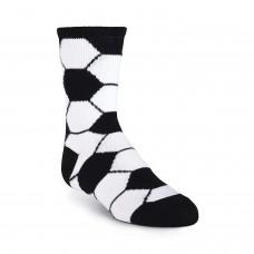 K. Bell Kid's Soccer Ball Crew Socks, White, Sock Size 7.5-9/Shoe Size 11-4, 1 Pair