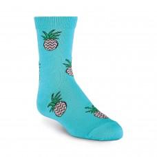 K. Bell Kid's Pineapple Crew Socks, Teal, Sock Size 7.5-9/Shoe Size 11-4, 1 Pair