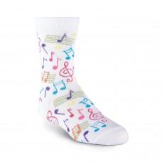 K. Bell Kid's Music Crew Socks, White, Sock Size 7.5-9/Shoe Size 11-4, 1 Pair