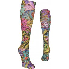 K. Bell All Over Floral 360 Print Knee High Socks, Blue, Sock Size 9-11/Shoe Size 4-10, 1 Pair