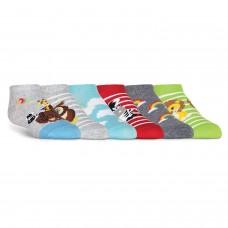 K. Bell Kid's Noahs Ark No Show, Gray Heather, Sock Size 7.5-9/Shoe Size 11-4, 6 Pair