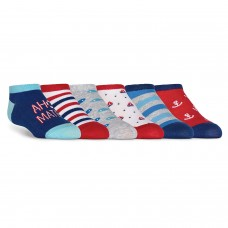 K. Bell Kid's Nautical No Show, Navy, Sock Size 7.5-9/Shoe Size 11-4, 6 Pair
