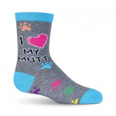 K. Bell Kid's Luv My Mutt Crew Socks, Charcoal Heather, Sock Size 7.5-9/Shoe Size 11-4, 1 Pair