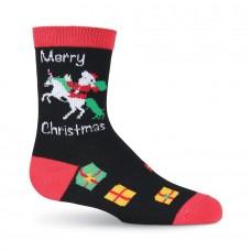 K. Bell Kid's Unicorn Santa, Black, Sock Size 7.5-9/Shoe Size 11-4, 1 Pair