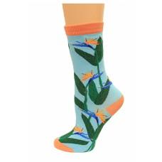K. Bell Birds of Paradise Crew Socks, Turquoise, Sock Size 9-11/Shoe Size 4-10, 1 Pair