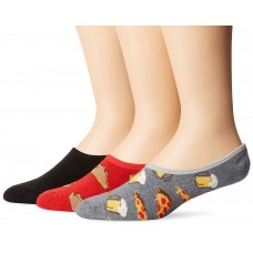 K. Bell Men's Tacos Liners, Red Assorted, Sock Size 10-13/Shoe Size 6.5-12, 3 Pair