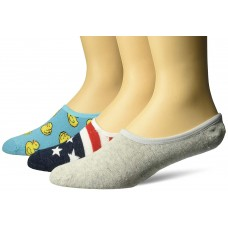 K. Bell Men's Rubber Ducks Liners, Turquoise Assorted, Sock Size 10-13/Shoe Size 6.5-12, 3 Pair