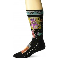 K. Bell Men's Laurel Burch Folklorica Crew Socks, Black, Sock Size 10-13/Shoe Size 6.5-12, 1 Pair