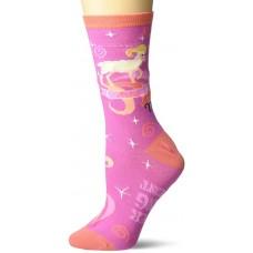 K. Bell Aries Crew Socks 1 Pair, Pink, Womens Sock Size 9-11/Shoe Size 4-10